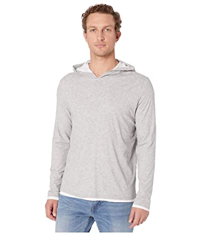 Vince Double Layer Contrast Hoodie (Heather Grey/Optic White) Men