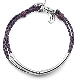 Ashley Anklet in Metallic Berry Leather and Silver Plate Crescents