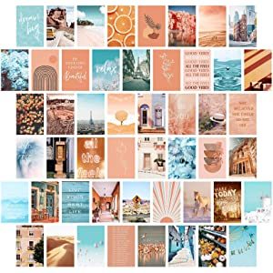 Peach Teal Wall Collage Kit Aesthetic Pictures, Bedroom Decor for Teen Girls, Wall Collage Kit, Collage Kit for Wall Aesthetic, Girls Bedroom Decor, Boho Wall Decor, Collage Kit (50PCS 4x6 inch)