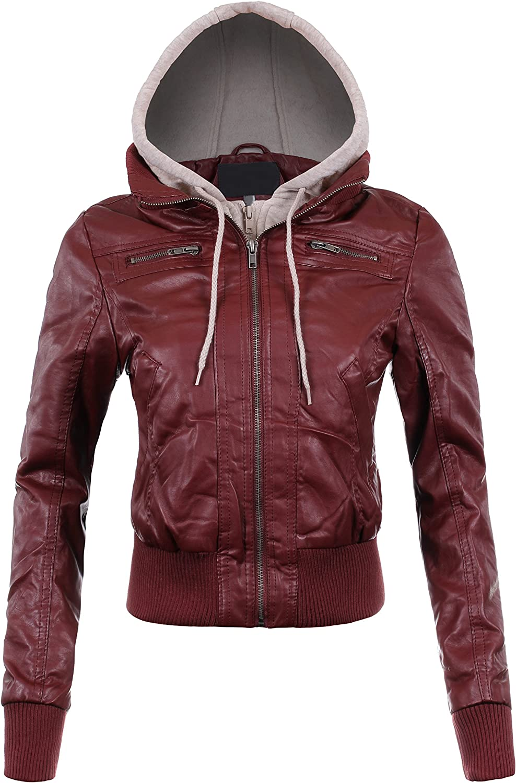 BEKDO Womens Fleece Hood Faux Leather Zip Up Moto Biker Bomber Jacket