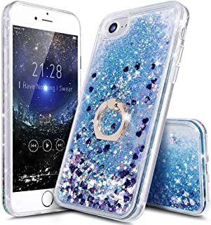 iPhone 7 8 Liquid Case with Stand - iPhone 6 6s 7 8Clear Case Ultra Thin Luxury Bling Glitter Sparkle Quicksand Cases Cover with Ring Stand Holder for iPhone 6/6s/7/8 (4.7 inch)(Blue)