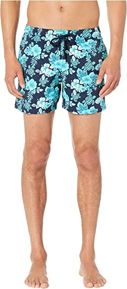 Moorise Turtles Flowers Superflex Swim Trunks