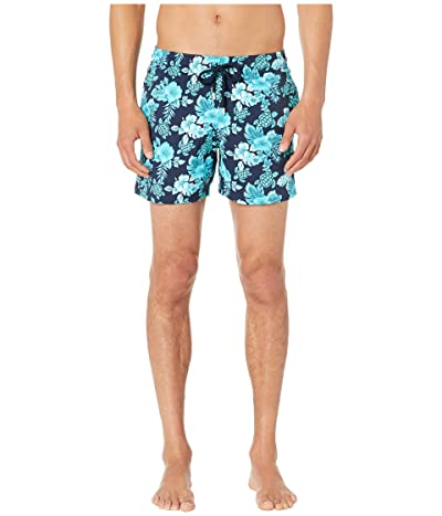 Vilebrequin Moorise Turtles Flowers Superflex Swim Trunks (Blue Marine) Men