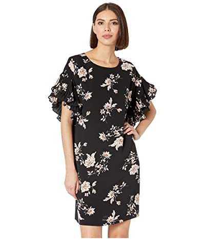 CeCe Pleated Sleeve Etched Floral Dress (Rich Black) Women
