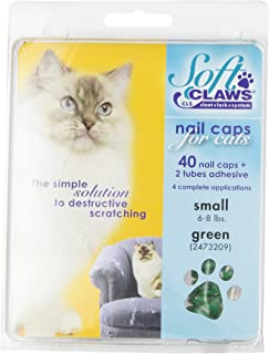 Soft Claws for Cats - CLS (Cleat Lock System), Size Small, Color Green