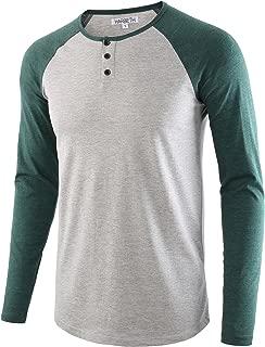 Men's Casual Long Sleeve Henley Shirt Raglan Fit Baseball T-Shirts Tee