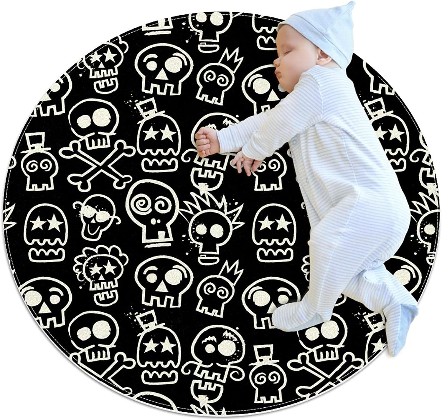 Sketchy Skull Repeat Wallpaper Kids Dealing full price reduction Game Blanket Excellent Round Pat