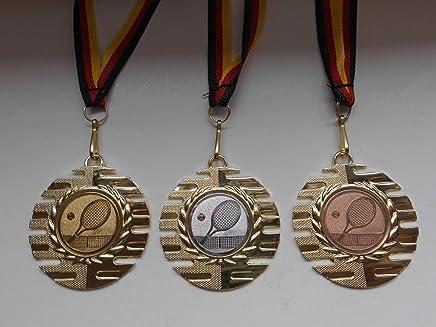 Gro/ße Stahl 70mm Medaillenset Medaillen Set Sch/ützen Silber Schie/ßsport Bronce Bronze Gewehr Gold e103 - Sch/ütze mit Alu Emblem 50mm Gold Silber mit Deutschland-Band -