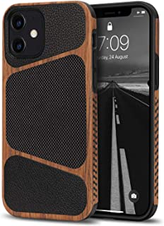 Tasikar Compatible with iPhone 12 Mini Case Easy Grip Wood Grain with Nylon Fabric Leather Design Hybrid Slim Case