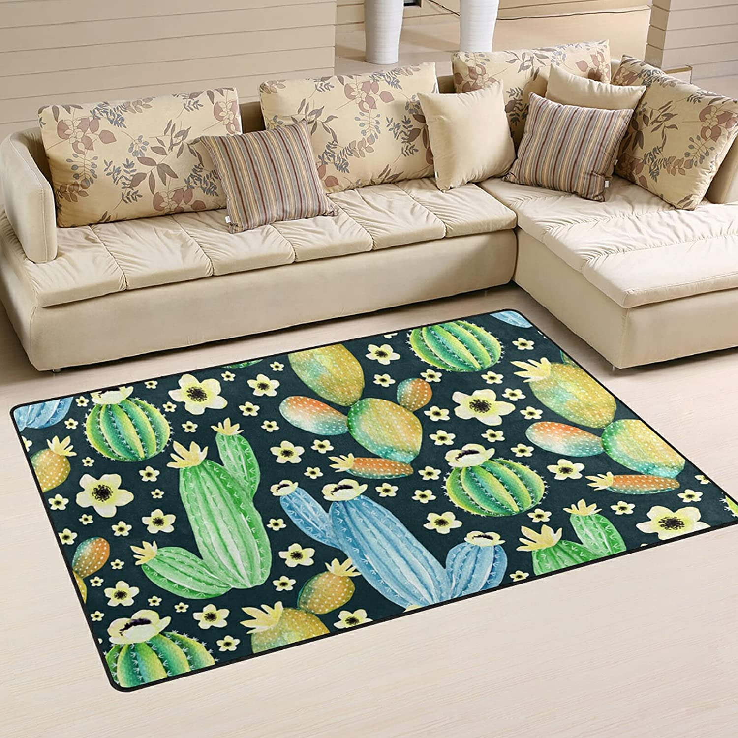 Flower Cactus Large Soft Area Rugs Award K Rug Playmat for Challenge the lowest price of Japan ☆ Nursery Mat