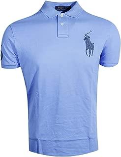 Mens Custom Fit Big Pony Logo Polo Shirt (Large, Light Blue (Navy Pony))