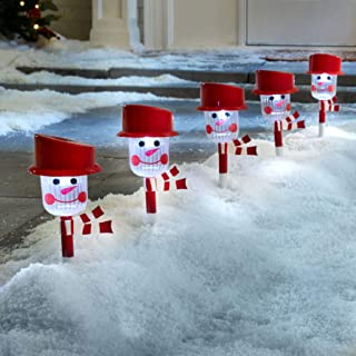 BrylaneHome Snowman Solar Pathway Light Stakes, Set of 6 - Red