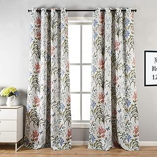 Cosics 2PCS Colorful Flower Print Blackout Curtains (Size: 52x84 inch)