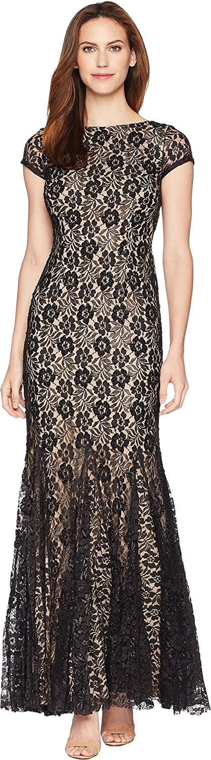 Adrianna Papell Women's Beaded Long Dress Black Nude 4