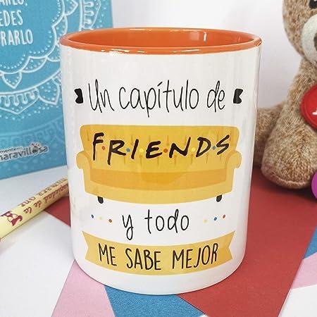 La Mente es Maravillosa - Taza con Frase y dibujo. Regalo original y gracioso (Un capítulo de friends y todo me sabe mejor) Taza Serie Friend