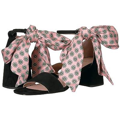 J.Crew Suede Ankle Tie Penny Sandal w/ Pink Tie (Black) Women