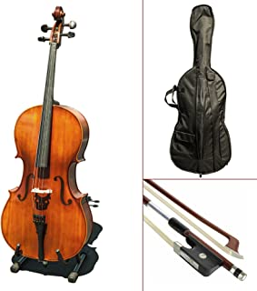 Paititi CE3005PE Scholar 256 Ebony Fitted Matte Finish Wood Cello with Soft Case, Brazilwood Bow, Rosin and Stopper (4/4)