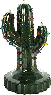 ReLive Green Ceramic Christmas Cactus with Multicolored Lights