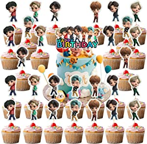 Bangtan Boy Happy Brithday Party Cake Toppers(29pcs)Food Safe BTS Birthday Cake Decoration For BTS Fans Party Cupcake Toppers Bangtan Boys Band Theme Birthday Party Supplies Cupcake Topper