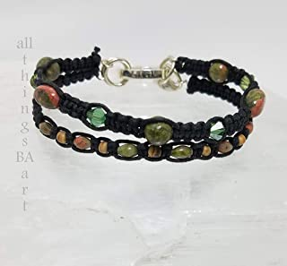 Genuine Unakite mix & match stacking bracelet set by All Things BA Art