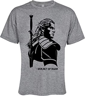 Geralt of Rivia Monster Hunter Men Unisex Tee T-Shirt Grey