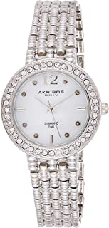 Akribos XXIV Women's Silver Diamond Swiss Quartz Classic Watch - Mother of Pearl Dial - Crystal Studded Bezel - Textured B...