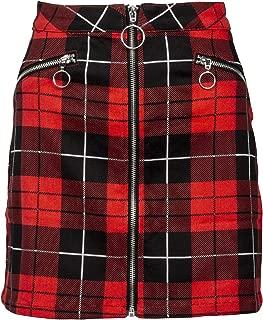 Womens Red and Black Plaid Tartan Punk Rock Mini Skirt