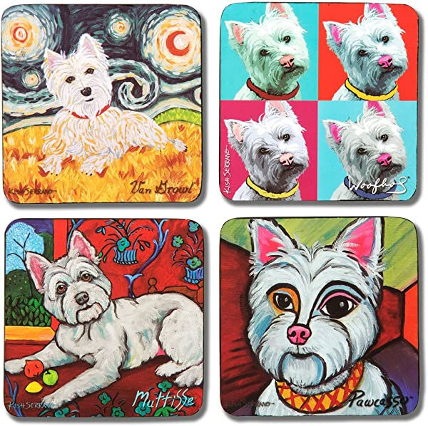 Pavilion Gift Company 12077 Paw Palettes Westie Coaster 4 By 4 Inch Set Of 4
