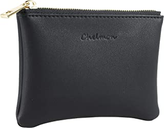 Chelmon Leather Coin Purse Pouch Change Purse With Zipper For Men Women
