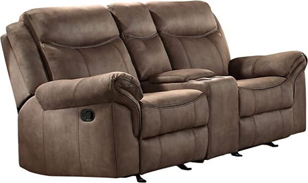 Homelegance Aram 76 Double Glider Reclining Loveseat Manual Brown