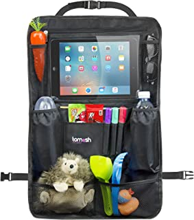 Backseat Organizer with Tablet Holder – Adjustable Straps for Universal Fit – Insulated Drink Pouches, Storage Pockets for Books, Snacks, Wipes – Car Organizer for Kids & Toddlers by Tomash, 24x16.5""