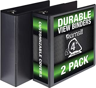 Samsill Durable 3 Ring View Binders, 4 Inch Locking D-Ring - Holds 800 Sheets, PVC-Free/Non-Stick Customizable Cover, Black, 2 Pack