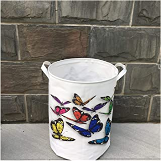 Waterproof Oxford Foldable Laundry Hamper Bucket,Dirty Clothes Laundry Basket, Bin Storage Organizer for Toy Collection,Oxford Cloth Storage Basket with Stylish Cartoon Design (Butterfly) (Size : 1)