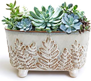 Gepege Ceramic Succulent Planter with Drainage Hole, Rectangular French Pot for Orchid Plants Christmas Tree Pattern Windo...
