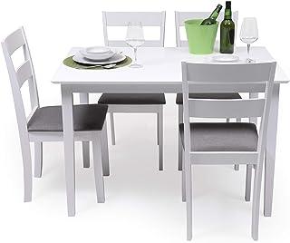 Conjunto de Comedor Kansas & Dallas White Mesa de Comedor de Madera lacada en Blanco de 112x72 cm y 4 sillas de Comedor de...