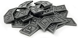Citadel Black MTG Buff Counters +1/+1 and -1/-1 Set of 20 Metal Tokens - with Velvet Drawstring Pouch, Antique Silver Fini...