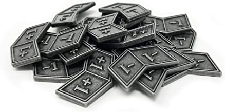 Set of 20 Metal MTG Buff Counters +1/+1 and -1/-1 by Citadel Black - with Velvet Drawstring Pouch, Antique Silver Finish Metal Tokens, Magic: The Gathering