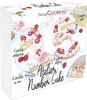 SCRAP COOKING 3810 Coffret Atelier Number Cake - Kit Accessoires Pâtisserie Chiffres 0 à 9 de 21cm avec Douilles, Poches, ...