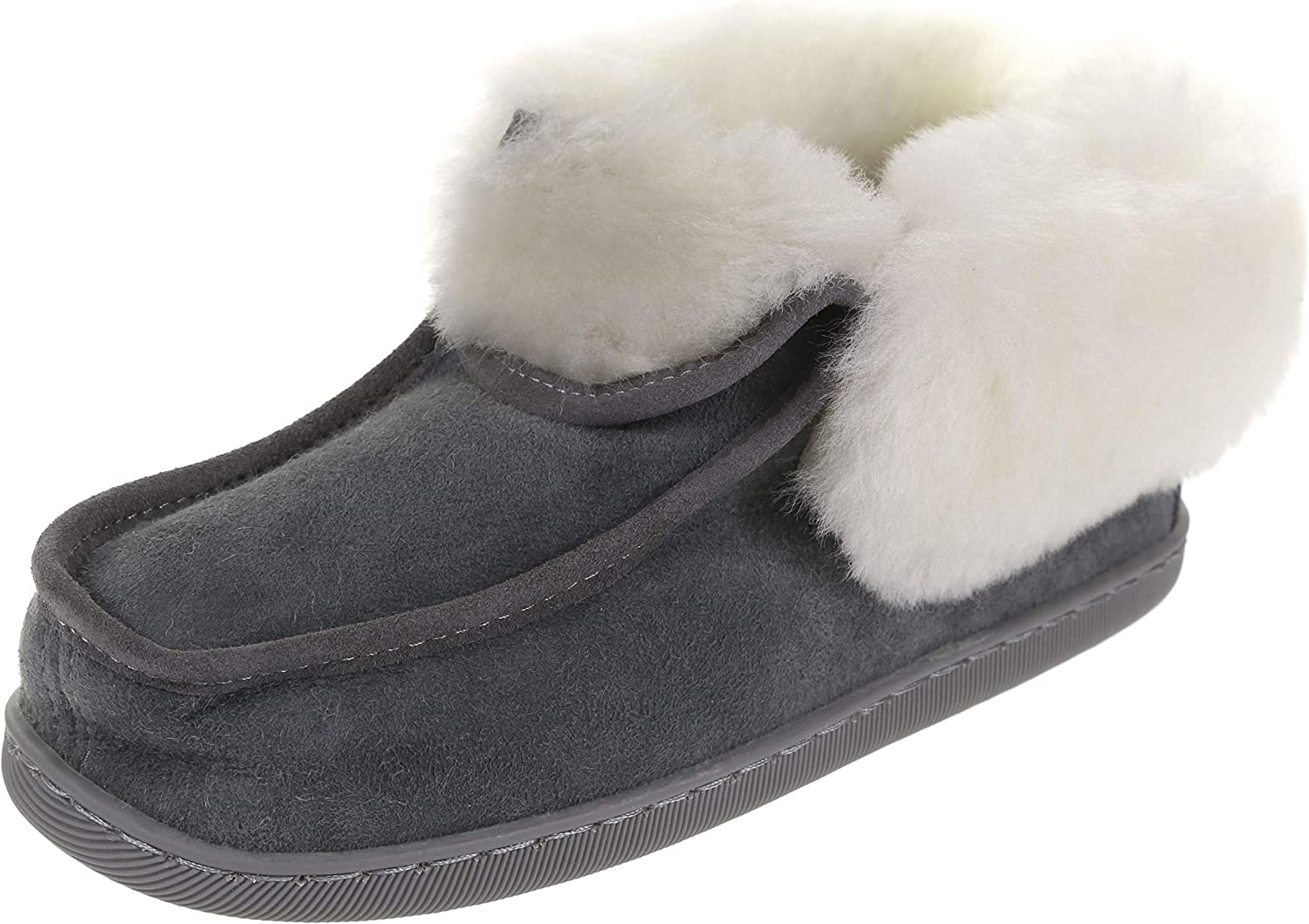 Vogar Womens Leather Moccasin Slippers VG-20 Sheep Wool Lined