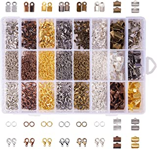 PH PandaHall Elite About 2580Pcs Jewelry Finding Kits Of Fold Over Iron Cord Ends Ribbon End Jump Rings And Lobster Claw C...