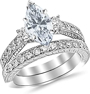 1.73 Carat t.w. Marquise Three Stone Vintage with Milgrain & Filigree Bridal Set with Wedding Band & Diamond Engagement Ring E/SI1 Clarity Center Stones.