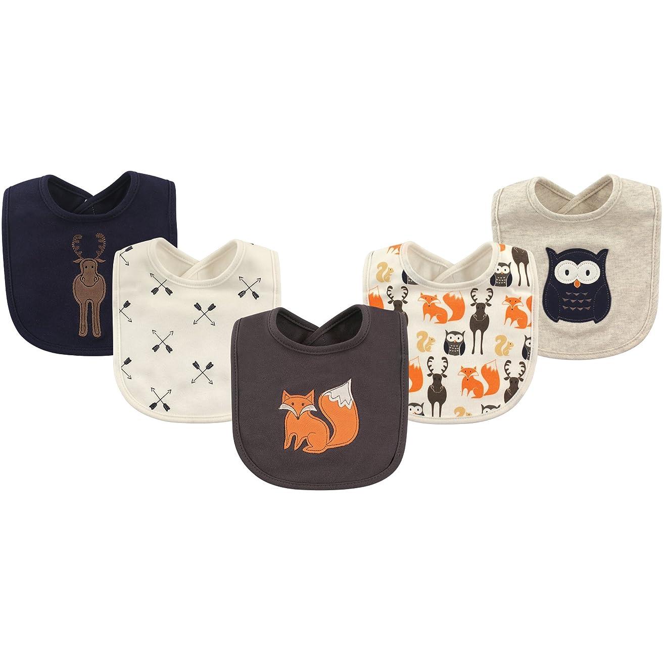 Hudson Baby Baby Girls' Cotton Drooler Bib, 5 Pack