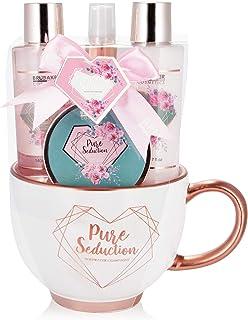 BRUBAKER Cosmetics - Coffret de bain & beauté - Eau de rose/Champagne - 5 Pièces - Tasse à café XXL incl. - Or rose/Pure S...