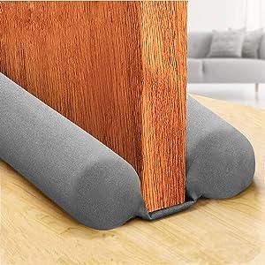 Sewens Twin Door Draft Stopper Weather Stripping Noise Blocker Window Breeze Blocker Adjustable Door Sweeps 38 inch (Gray)