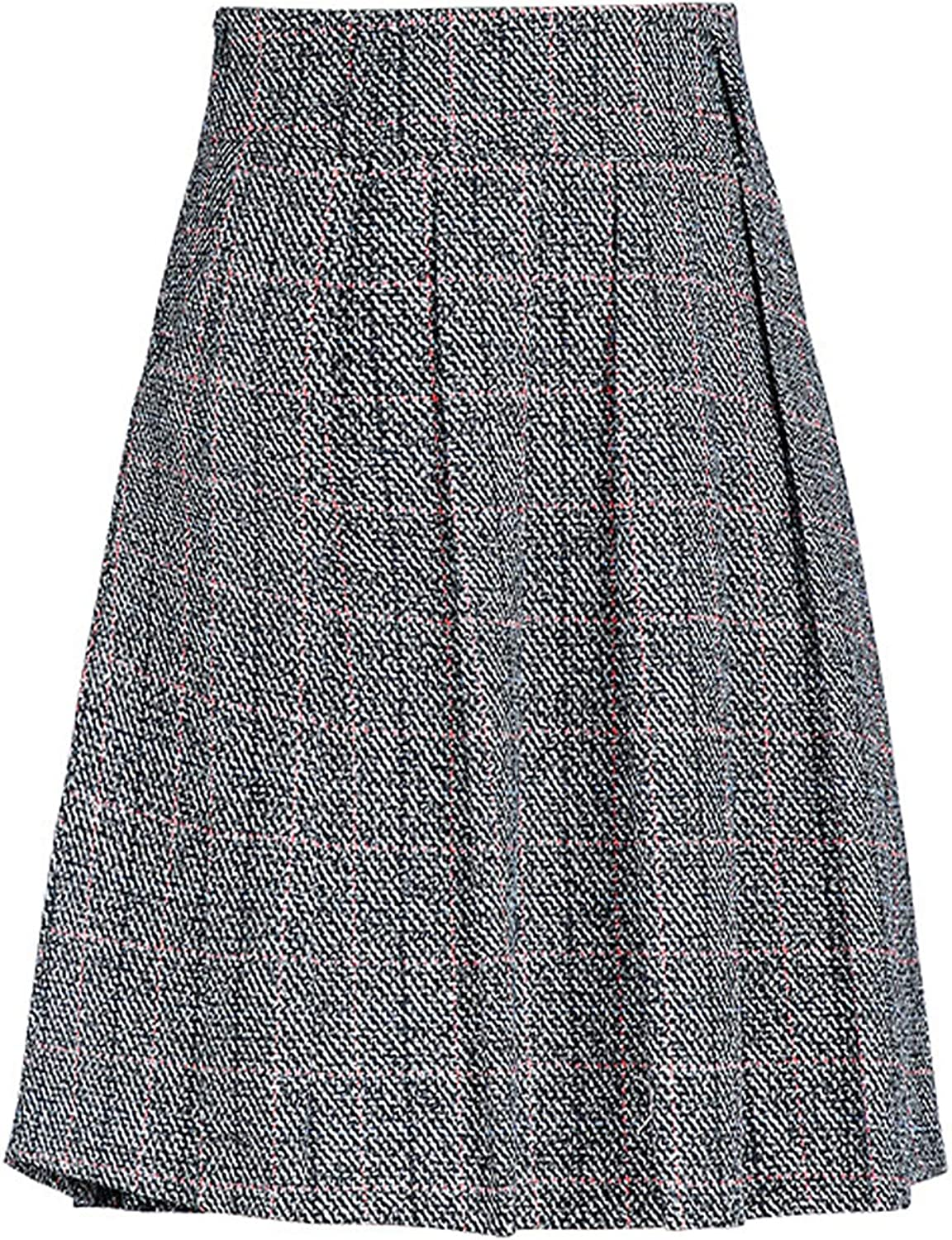 Chouyatou Women's Graceful Knee Length ALine Pleated Midi Plaid Wool Skirt