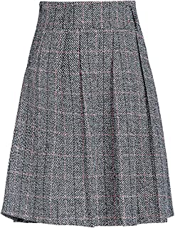 Women's Graceful Knee Length A-Line Pleated Midi Plaid Wool Skirt