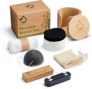 QiEco Reusable Makeup Remover Pads and Beauty Set - 16 Bamboo Cotton Pads + 2 Washable Swabs + More