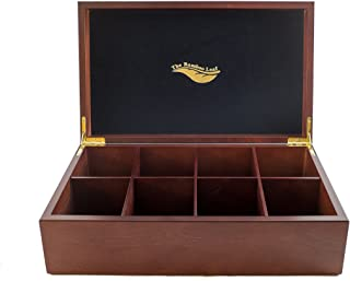 The Bamboo Leaf Tea Storage Chest, 8 Compartment w/Solid Lid (Cherrywood)