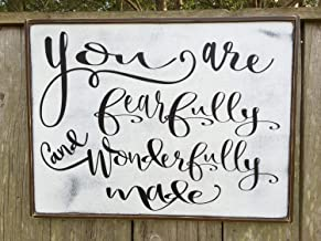 Adonis554Dan You are fearfully and wonderfully made Fixer Upper Inspired Sign 16x48Rustic Wood Sign Farmhouse Sign Wall Dcor