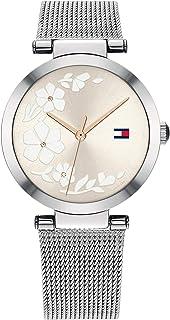 ساعة ستانلس ستيل بمينا رمادي للنساء من تومي هيلفجر - 1782238